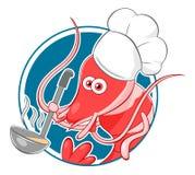 Шеф-повар креветки шаржа Стоковое Изображение