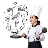 Шеф-повар молодой женщины в действии иллюстрация штока