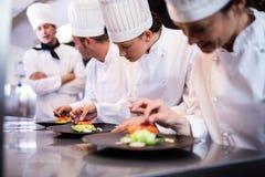 Шеф-повар обозревая другого шеф-повара подготавливая блюдо стоковое фото