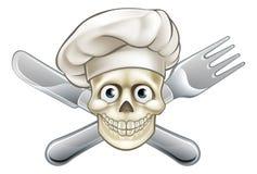 Шеф-повар перекрещенных костей пирата шаржа иллюстрация вектора