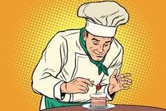 Шеф-повар подготавливает сладостный десерт иллюстрация вектора