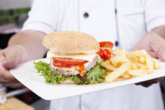 Шеф-повар представил плиту гамбургера Стоковое Изображение