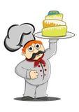 Шеф-повар приносит торт иллюстрация вектора
