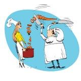 Шеф-повар режет еду кашеваров овощей Стоковая Фотография RF