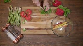 Шеф-повар режет свежую и вкусную петрушку для варить над взглядом акции видеоматериалы