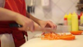 Шеф-повар рук женщины отрезал свежие овощи и укроп акции видеоматериалы