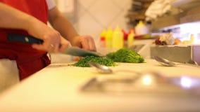 Шеф-повар рук женщины отрезал свежие овощи и укроп сток-видео