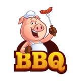 Шеф-повар свиньи шаржа иллюстрация вектора