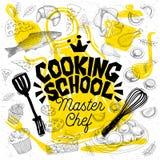 Шеф-повар стиля эскиза варя литерность школы Знак, логотип, эмблема иллюстрация штока