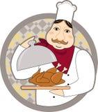 Шеф-повар с зажаренным цыпленком Стоковое Изображение RF
