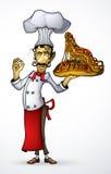 Шеф-повар с извергом пиццы в руке Стоковое Изображение RF