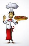 Шеф-повар с пиццей в его руке Стоковые Изображения RF