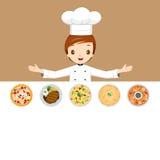 Шеф-повар с различными меню Стоковое Фото