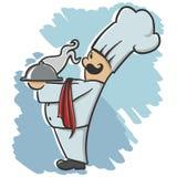 Шеф-повар служа блюдо иллюстрация штока