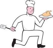 Шеф-повар с шаржем шпателя цыпленка идущим Стоковое Фото