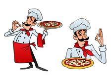 Шеф-повар шаржа итальянский приносит пиццу иллюстрация штока