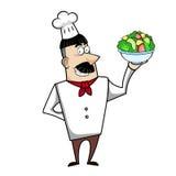 Шеф-повар шаржа с шаром салата Стоковая Фотография