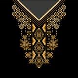 Шея цветков черных и золотых цветов этническая Граница Пейсли декоративная бесплатная иллюстрация