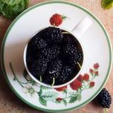 Шелковицы в чашке Стоковые Изображения