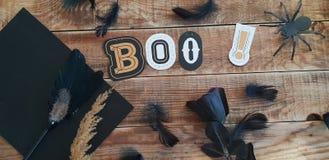 Шиканье - украшение хеллоуина дальше wodden предпосылка стоковое изображение rf