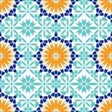 Шикарная безшовная картина от голубых морокканских плиток, орнаментов Стоковое Изображение