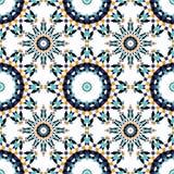 Шикарная безшовная картина от голубых морокканских плиток, орнаментов Стоковая Фотография