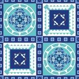 Шикарная безшовная картина от голубых морокканских плиток Стоковые Изображения RF