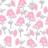 Шикарная безшовная картина с зацветая розой пинка на белой предпосылке Фон с красивыми нежными цветками покрашено иллюстрация штока