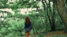 Шикарная девушка в шортах и стеклах джинсовой ткани идет через парк видеоматериал