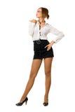 Шикарная женщина в черной юбке Стоковое Изображение
