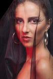 Шикарная женщина с стилем goth составляет стоковая фотография rf