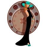 Шикарная женщина с шлемом и платьем Стоковые Фотографии RF
