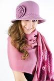 шикарная женщина шарфа пинка шлема Стоковое Изображение RF
