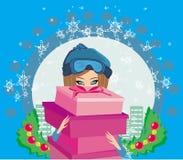 Шикарная и модная девушка с коробкой подарка иллюстрация штока