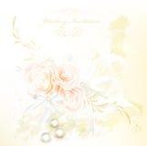 Шикарная карточка приглашения венчания с розами бесплатная иллюстрация