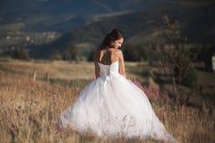 Шикарная невеста в элегантном платье представляя на солнечном летнем дне на предпосылке гор Стоковое фото RF