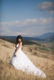 Шикарная невеста в элегантном платье представляя на солнечном летнем дне на предпосылке гор Стоковая Фотография