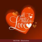 Шикарная поздравительная открытка с сердцем. Стоковая Фотография RF