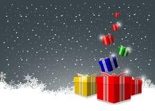 Шикарная предпосылка рождества с коробками подарка бесплатная иллюстрация
