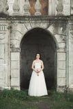 Шикарная романтичная нежная стильная красивая кавказская невеста на замке предпосылки старом барочном Стоковые Изображения