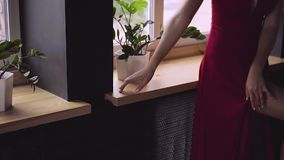 Шикарная, рыжеволосая дама смотрит вне окно видеоматериал