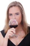 шикарная стеклянная женщина красного вина Стоковая Фотография