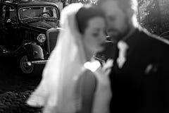 Шикарная элегантная невеста и стильный groom обнимая, gentle касание Стоковые Фотографии RF