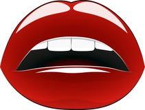 Шикарные губы - красный цвет, на белой предпосылке, с красивыми белыми зубами бесплатная иллюстрация