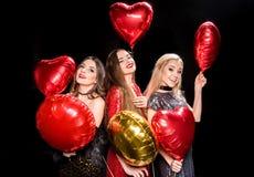 Шикарные женщины с воздушными шарами Стоковые Изображения
