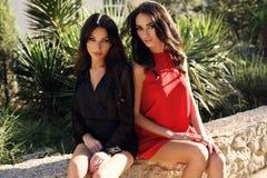 Шикарные женщины с темными волосами в элегантных платьях Стоковые Изображения