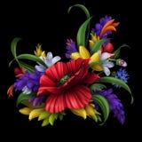 Шикарные сельские цветки, флористическая предпосылка иллюстрация вектора