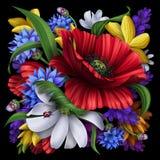 Шикарные сельские цветки, флористическая предпосылка Стоковое Изображение RF
