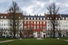Шикарные таунхаусы, Копенгаген, Дания стоковые изображения rf