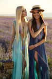 Шикарные чувственные женщины с длинными волосами в элегантном обмундировании Стоковые Изображения